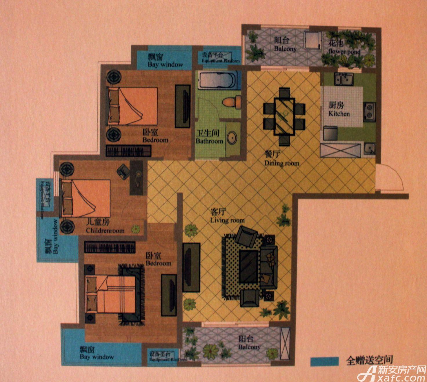 盛世龙城高层B13室2厅120平米