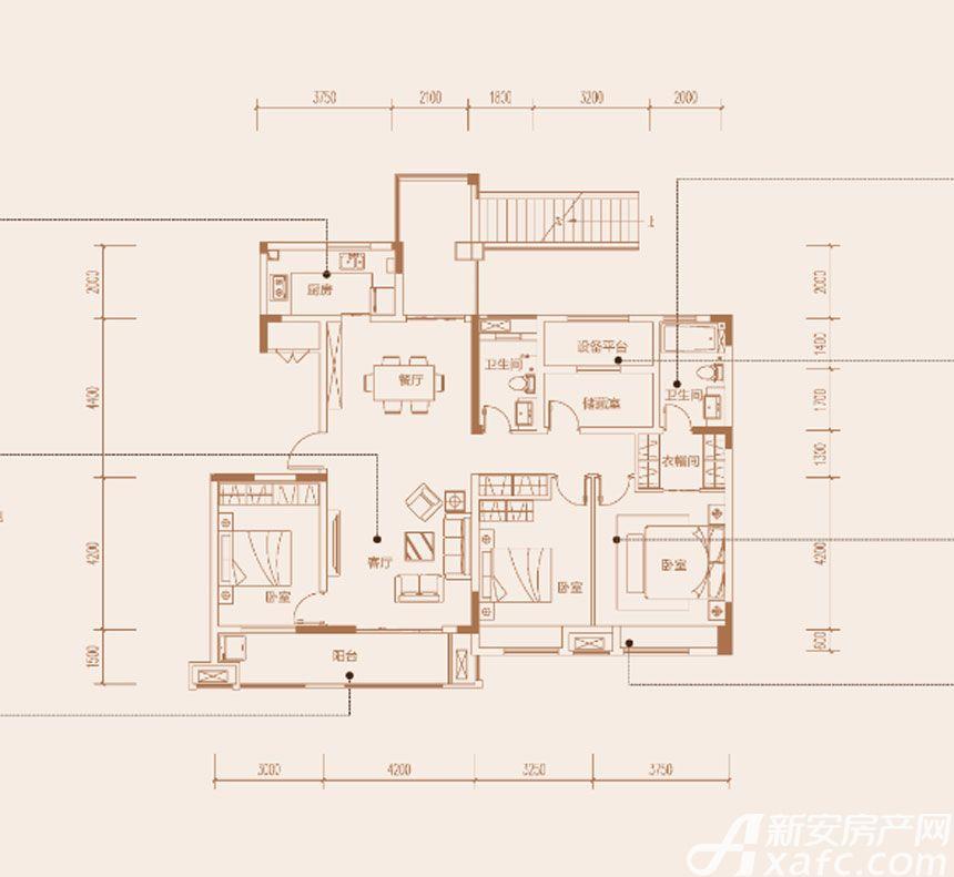 陶冲湖别院洋房二层3室2厅140平米