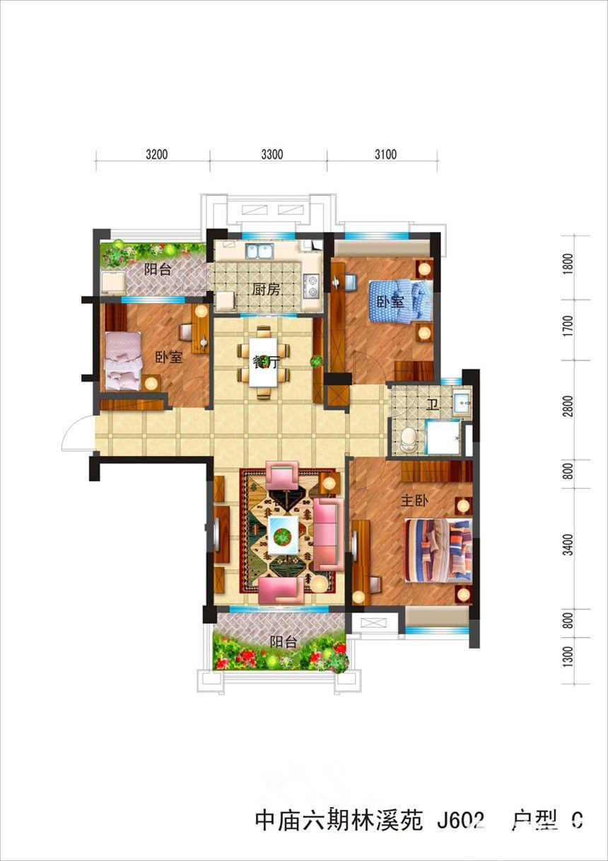 碧桂园滨湖城高层C3室2厅111平米