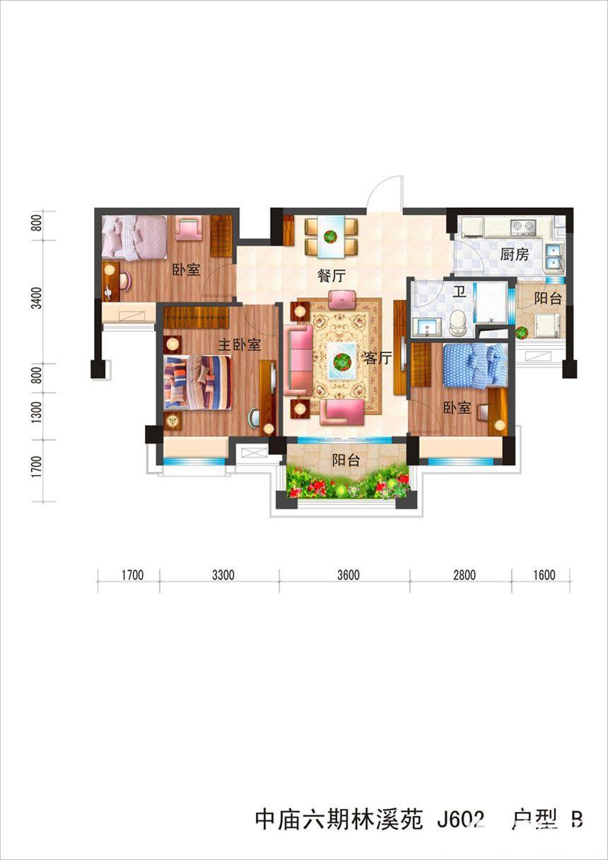 碧桂园滨湖城高层B3室2厅85平米