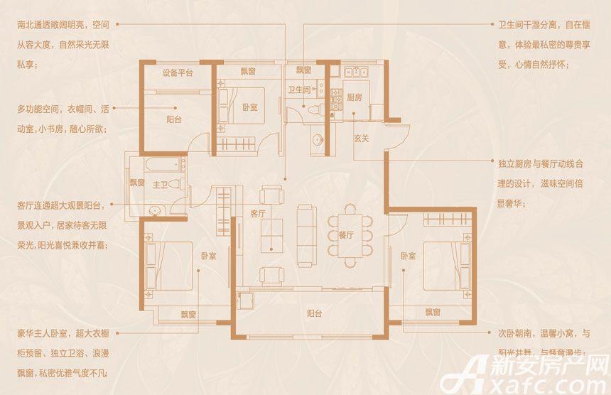 文一豪门金地平层148㎡户型3室2厅148平米