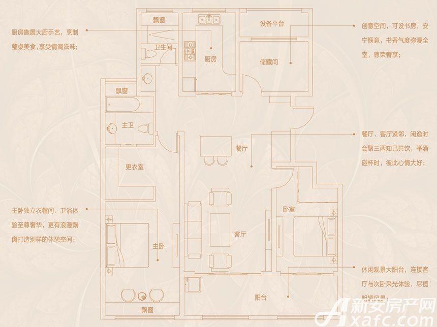 文一豪门金地洋房143㎡户型2室2厅143平米