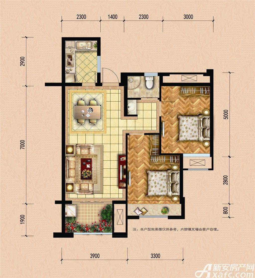 龙湖名城B22室2厅85.13平米
