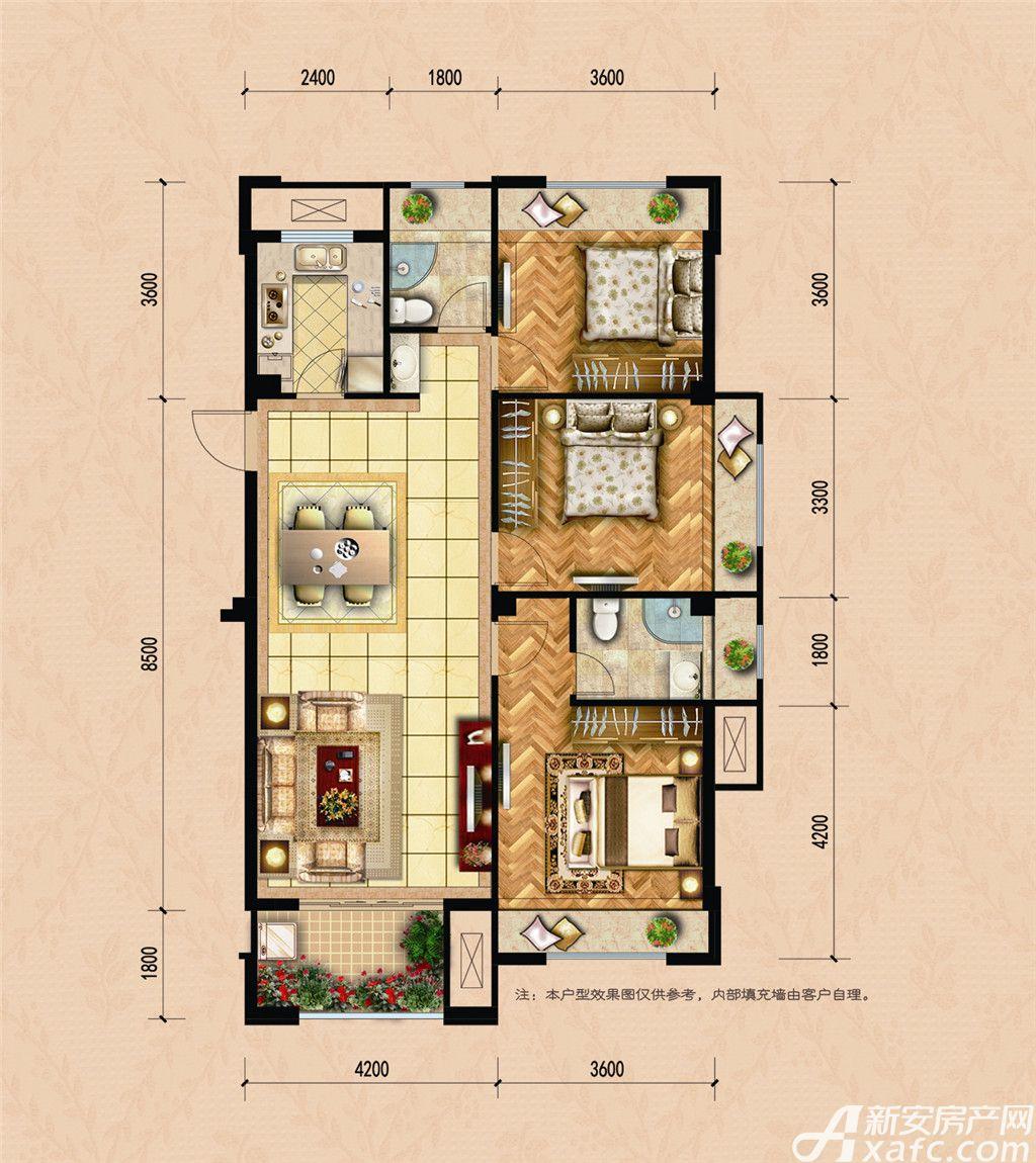 龙湖名城E63室2厅112.52平米