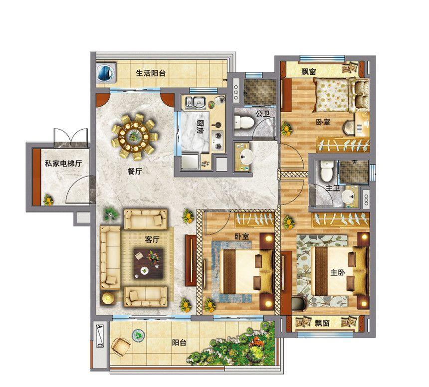碧桂园·东至首府YJ118—A户型3室2厅120平米
