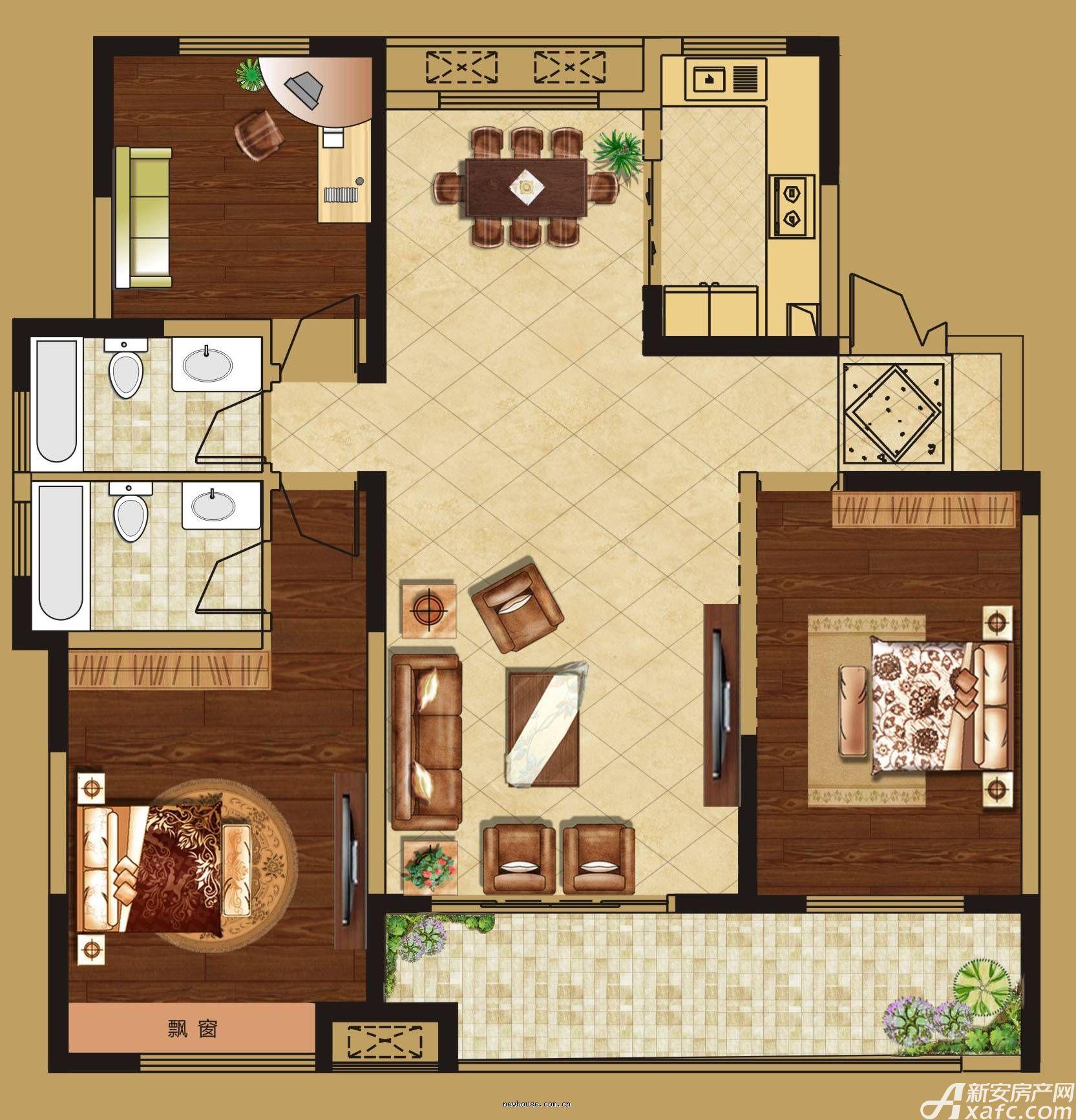 华源七星城A户型3室2厅129平米