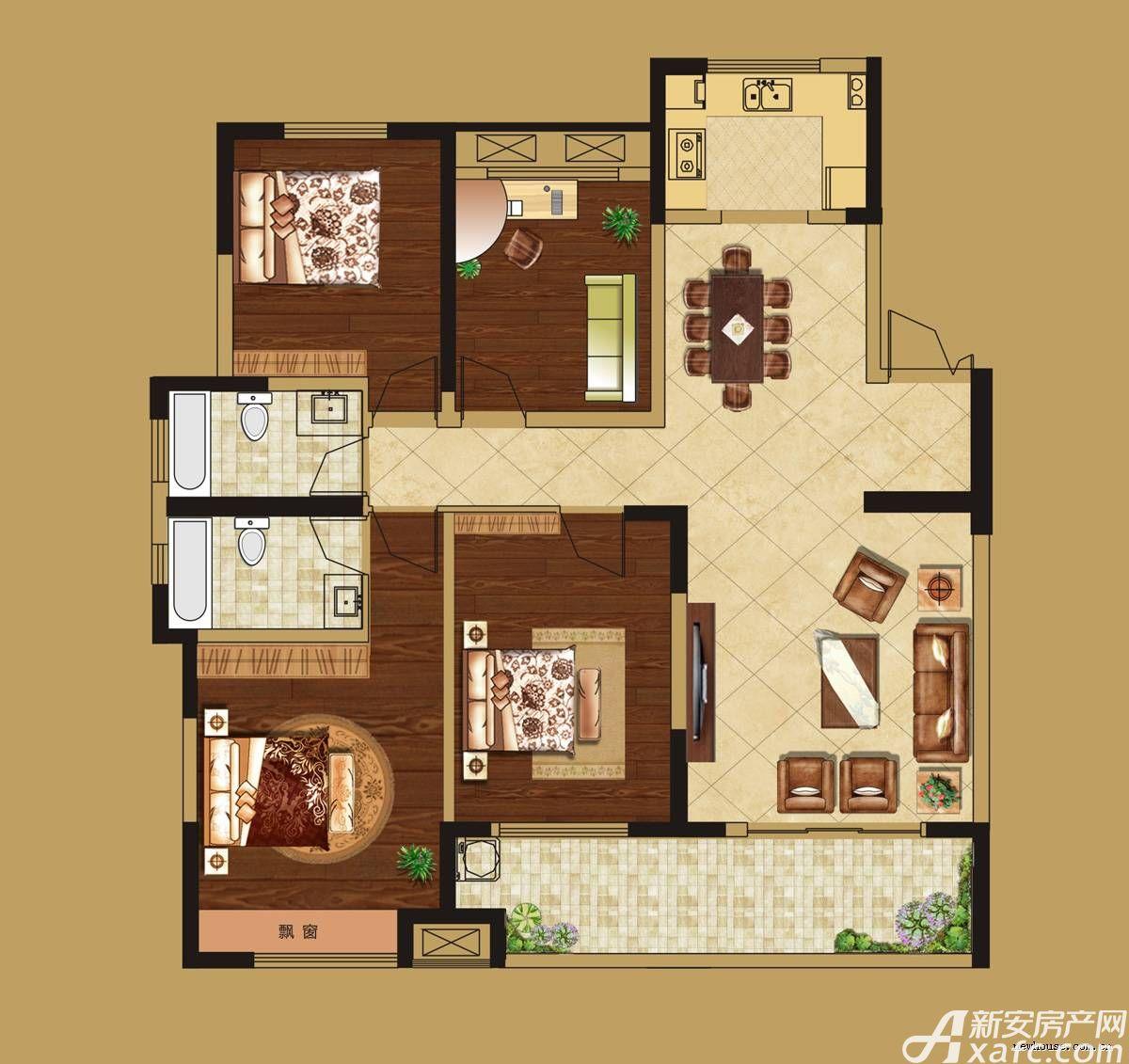 华源七星城D户型4室2厅139平米