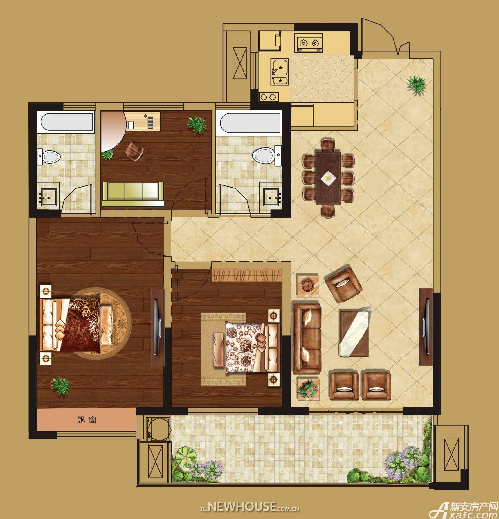 华源七星城E户型3室2厅112平米