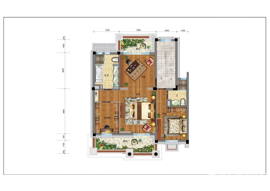 碧桂园·东至首府BJ260—2F户型5室4厅260平米