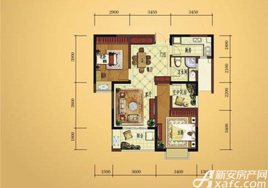 弘宇雍景湾A-23室2厅87平米
