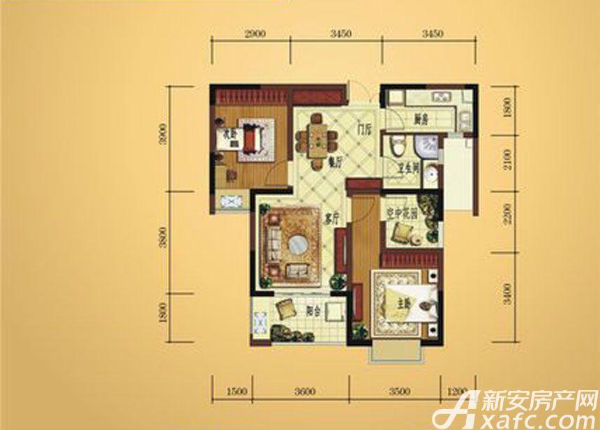 弘宇雍景湾A-33室2厅88.45平米