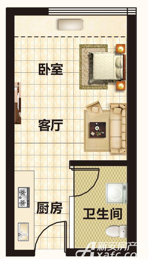 恒大帝景A12-21户型1室1厅35平米