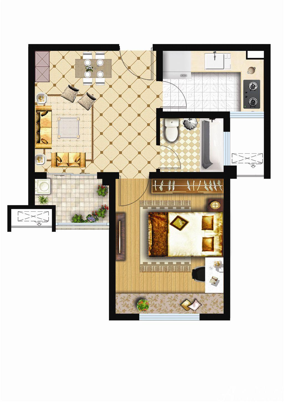 银湖义安学府A户型1室2厅53.71平米