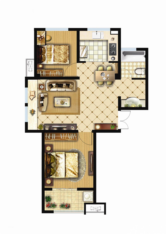 银湖义安学府B户型2室2厅84.36平米