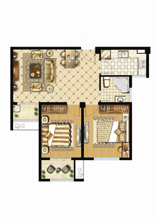 银湖义安学府D户型2室2厅86.31平米