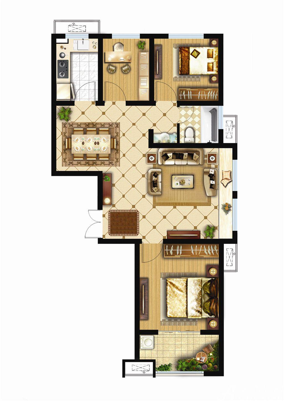 银湖义安学府E户型3室2厅95.71平米