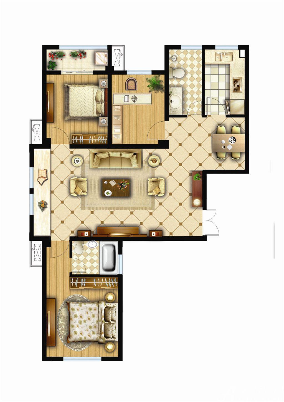 银湖义安学府F户型3室2厅119.78平米
