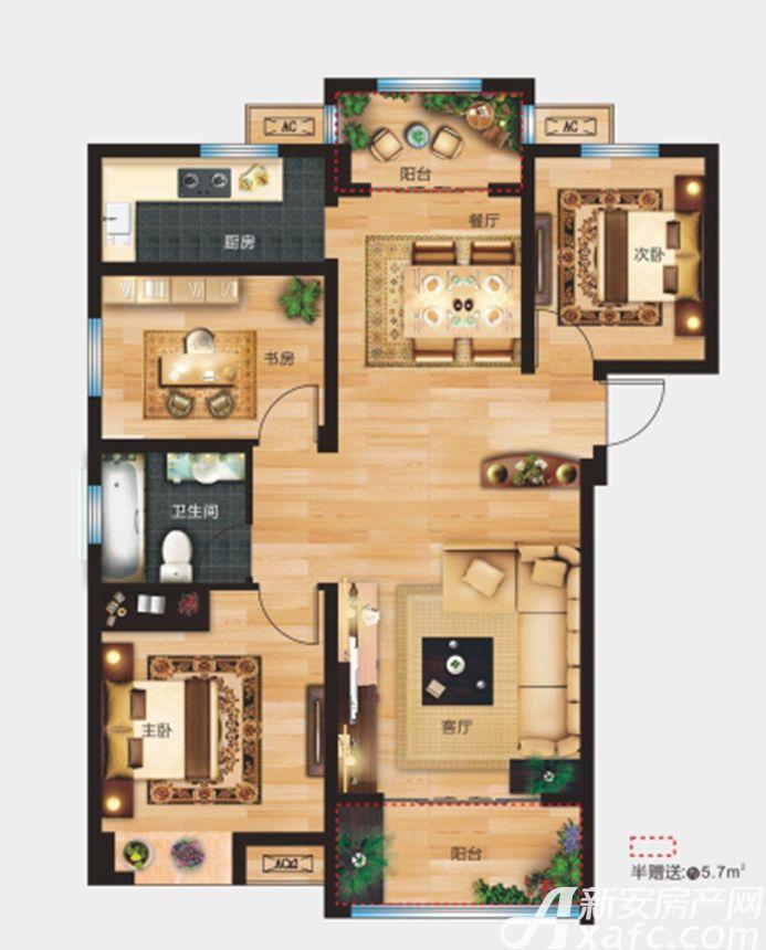 万象新天A1户型3室2厅115平米