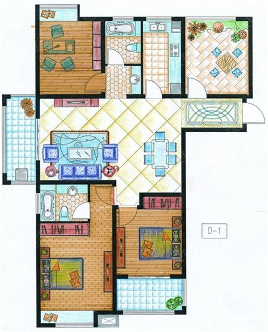 紫金华府D14室2厅142.65平米