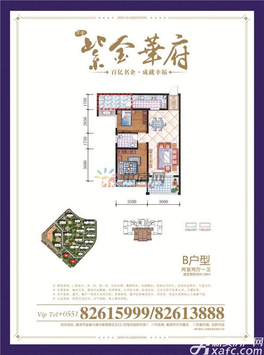 紫金华府B2室2厅91平米