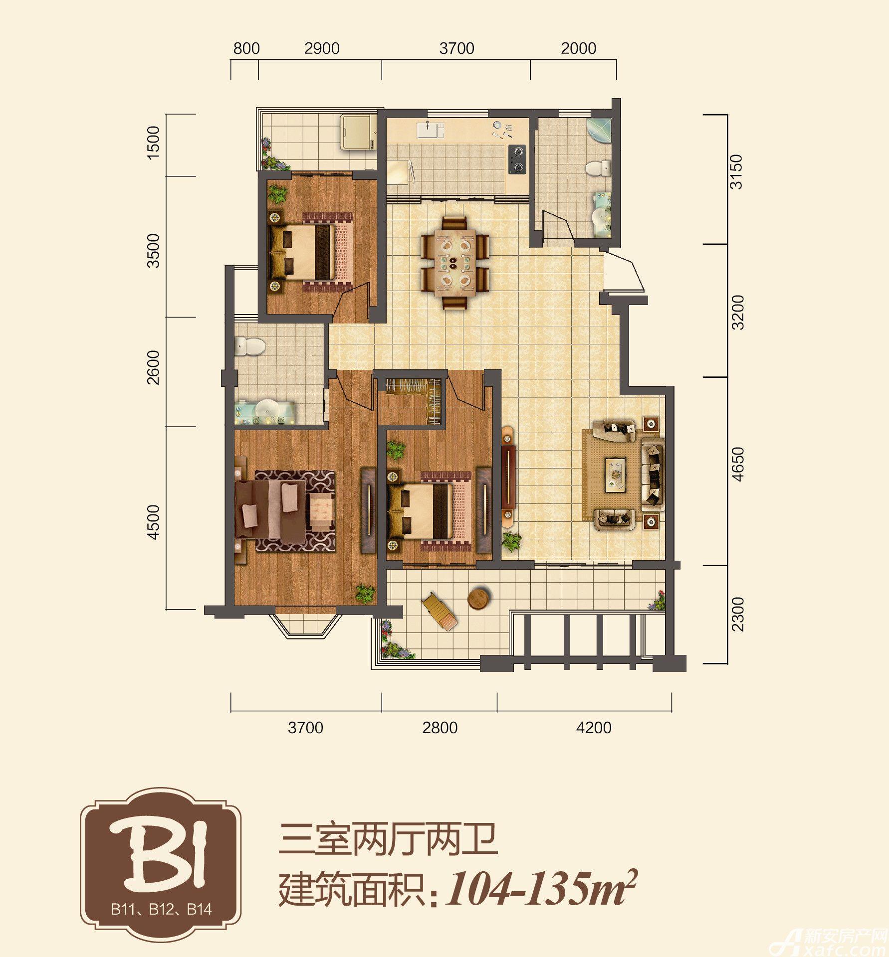地矿龙山湖苑B13室2厅104平米