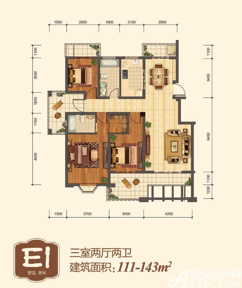 地矿龙山湖苑E13室2厅111平米