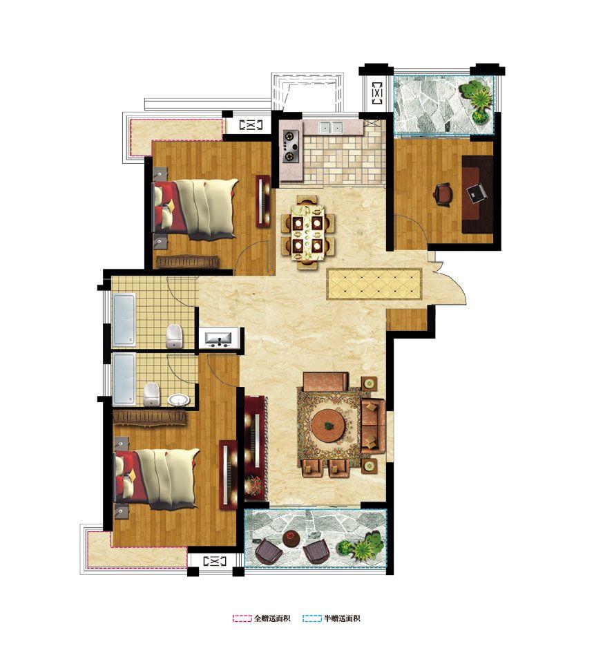中辰一品E13室2厅118.09平米