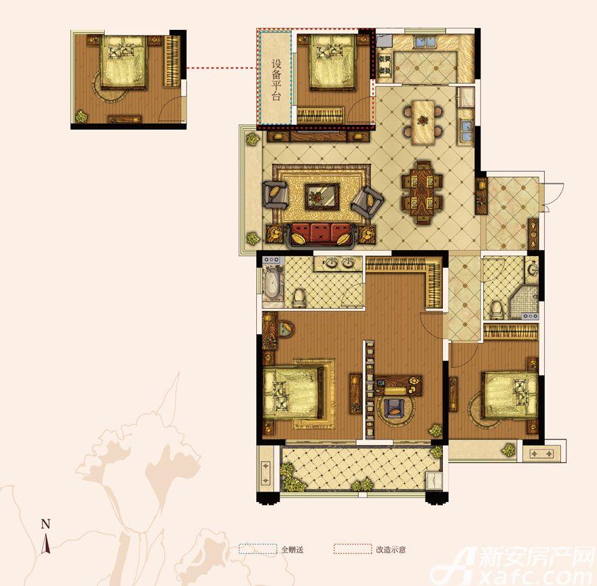 奥园城市天地A5#A户型4室3厅163平米