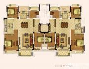 奥园城市天地洋房六层户型4室2厅257㎡