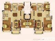 奥园城市天地洋房七层户型4室2厅253㎡