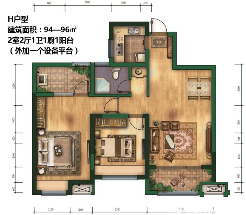 钻石星座H户型2室2厅94平米