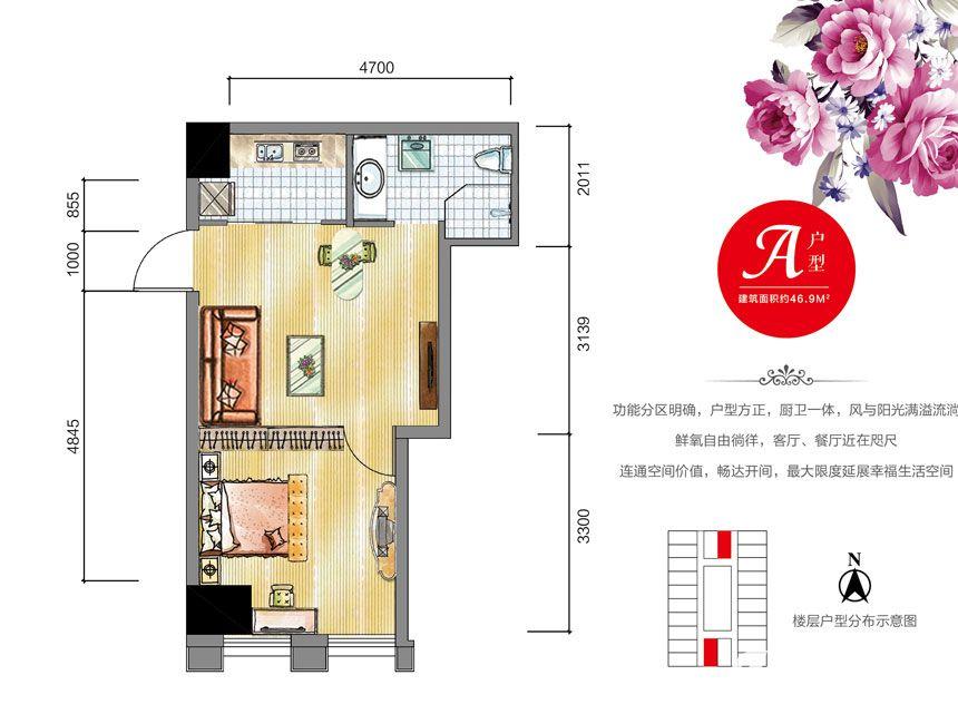 安通缘梦天地A户型1室1厅46.9平米