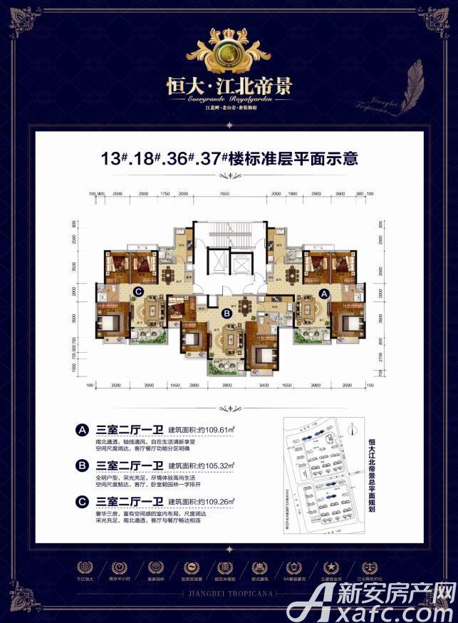 恒大江北帝景13#18#36#37#标准层3室2厅109平米