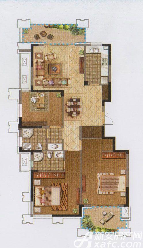 禹洲翡翠湖郡F1户型3室2厅131平米