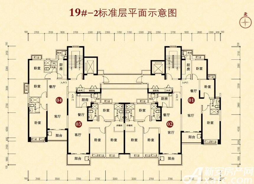 恒大城(19#-2)01户型3室2厅100平米