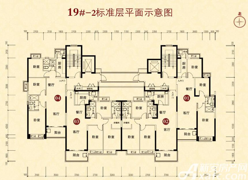 恒大城(19#-2)04户型3室2厅110平米