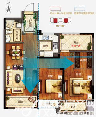 信达蓝湖郡C902室2厅90平米