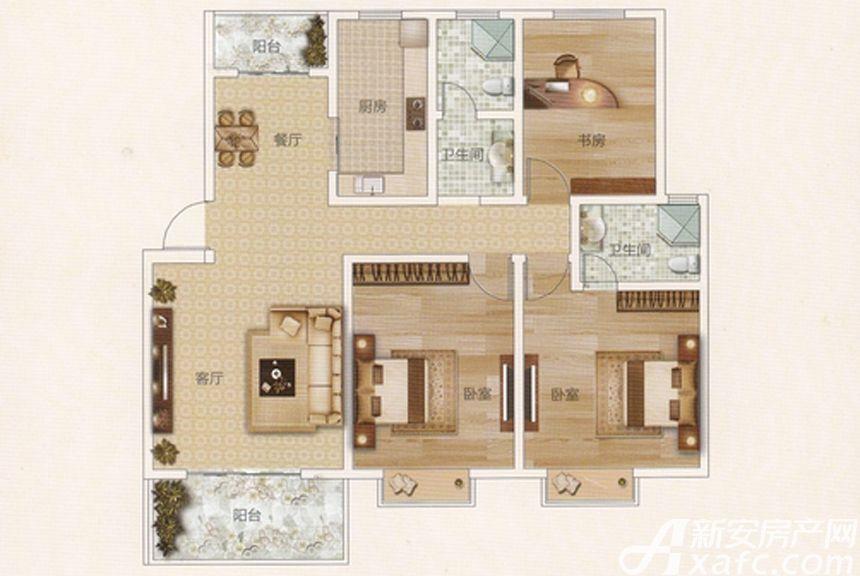前城御澜湾E户型3室2厅115.88平米