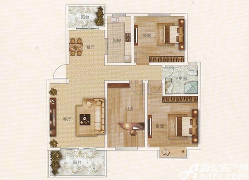 前城御澜湾C户型3室2厅96.3平米
