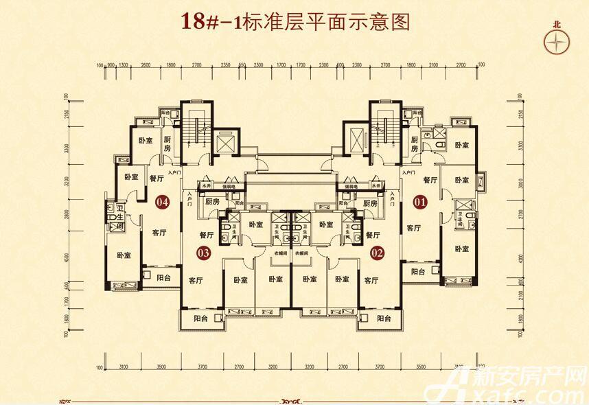 恒大城(18#-1)04户型3室2厅100平米