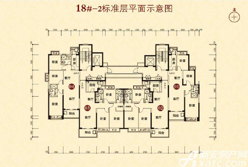 恒大城(18#-2)01户型3室2厅100平米