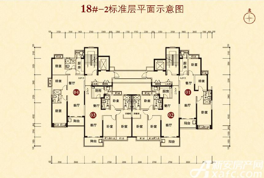 恒大城(18#-2)04户型3室2厅110平米