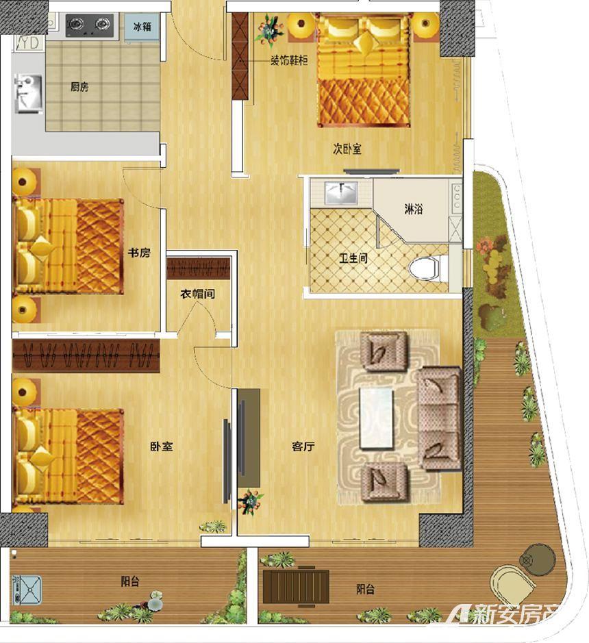 东誉城A1户型3室2厅110平米