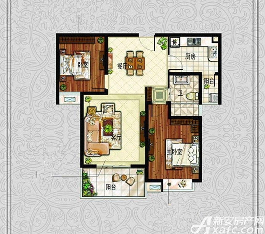中冶钟鼎悦城L2户型2室2厅93.33平米