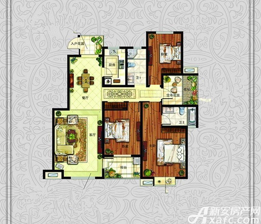 中冶钟鼎悦城J户型3室2厅143.88平米
