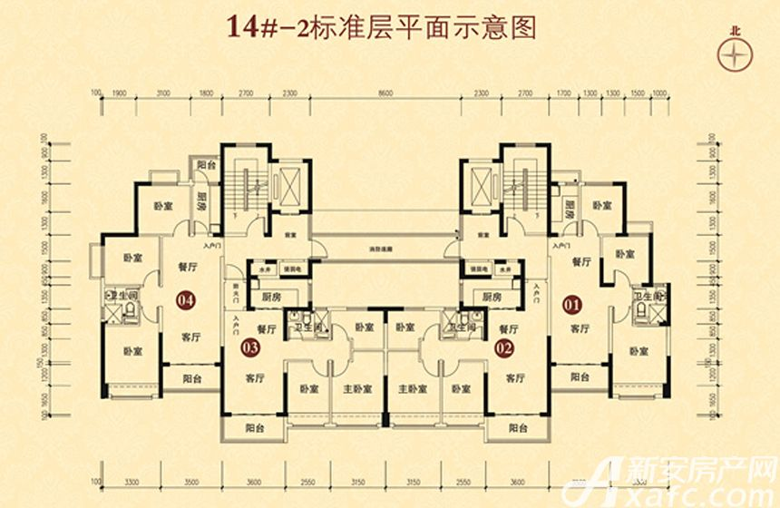 恒大城(14#-2)02户型3室2厅92平米