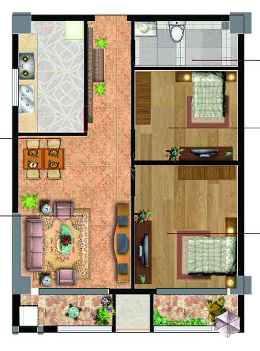 新沪浦大厦A户型2室2厅75平米