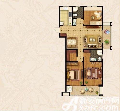 宝龙华庭A户型3室2厅150.33平米