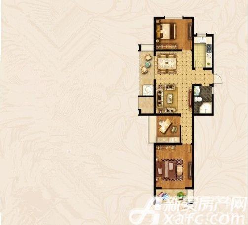 宝龙华庭J户型3室2厅112.42平米