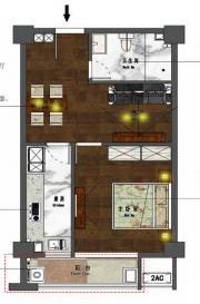 新沪浦大厦E户型1室1厅61.85㎡